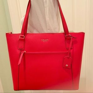 Large pocket tote Kate spade hot chili red leather